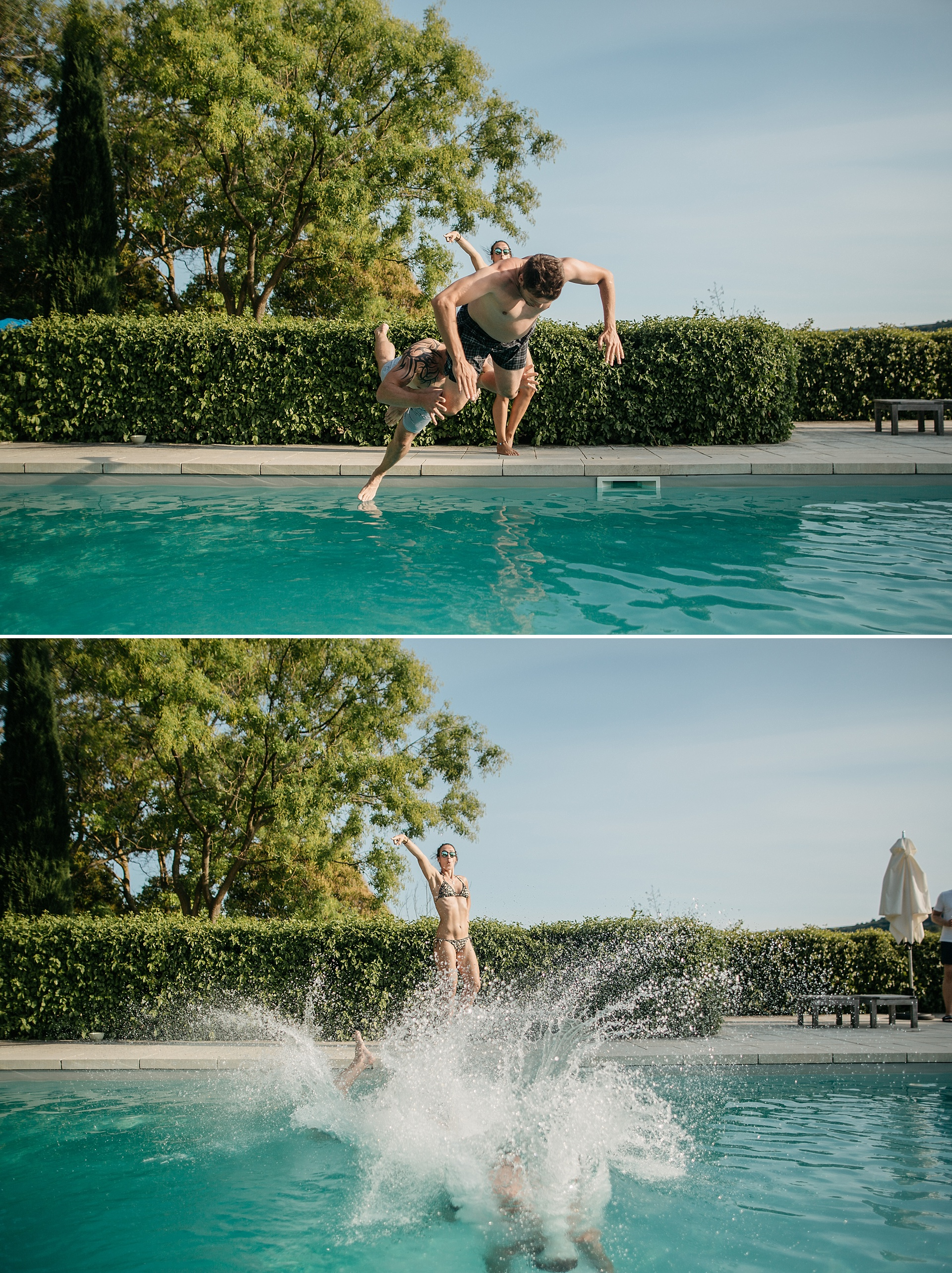 Traumhafte Hochzeit in der Provence. Fun at the pool.